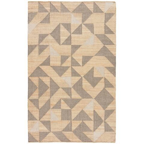 Leeds Geometric Beige/ Grey Handmade Area Rug