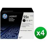 HP 55X High Yield Black Original LaserJet Toner Dual Cartridges (CE255XD)(4-Pack)