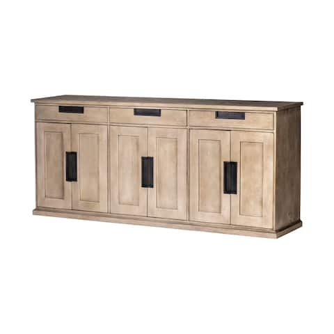 Braxton III 81.5x18.5 Natural Brown Solid Wood 3 Drawer 6 Door Sideboard - 81.5L x 18.5W x 36.0H