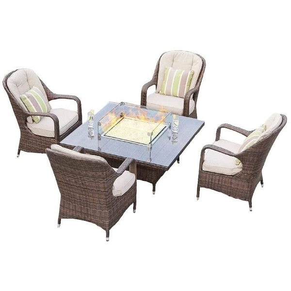 Eton 5-Piece Wicker Patio Furniture Dining Set Gas Fire ...