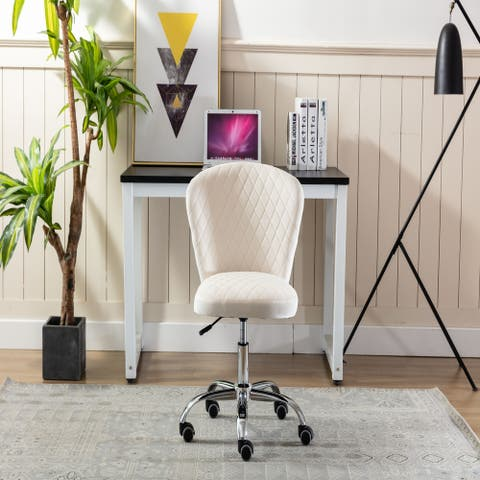 Home Office Comfortable Swivel Chair and Mid- Back with Wheels Beige)