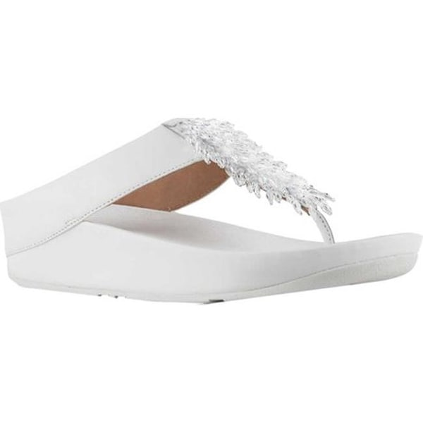 f8b5940eab139 Shop FitFlop Women s Rumba Wedge Thong Sandal Urban White Leather ...