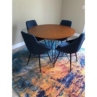 Carson Carrington Torring Round Hairpin 5-piece Dining Set - Walnut/ Blue