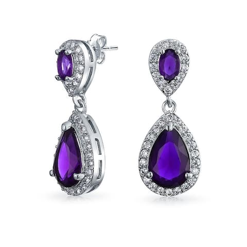 Pave CZ Halo Teardrop Drop Prom Statement Earrings Silver Plated