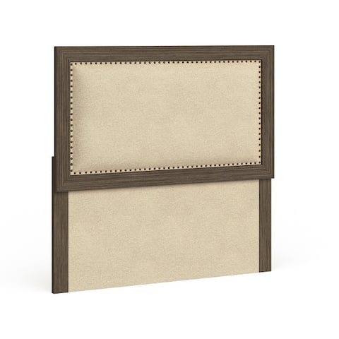 Furniture of America Aden Rustic Brown Linen Fabric Padded Headboard