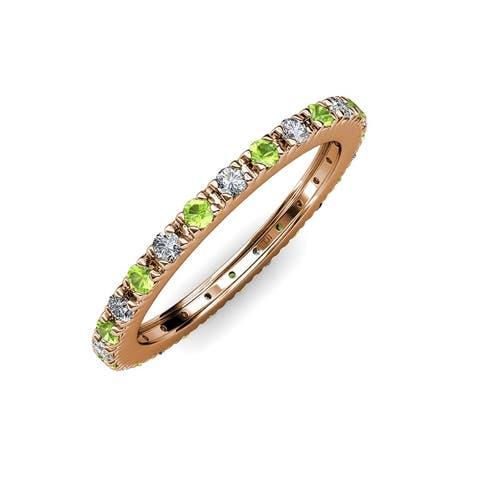 TriJewels Peridot Diamond 3/4 ctw French Set Eternity Ring 14K Gold