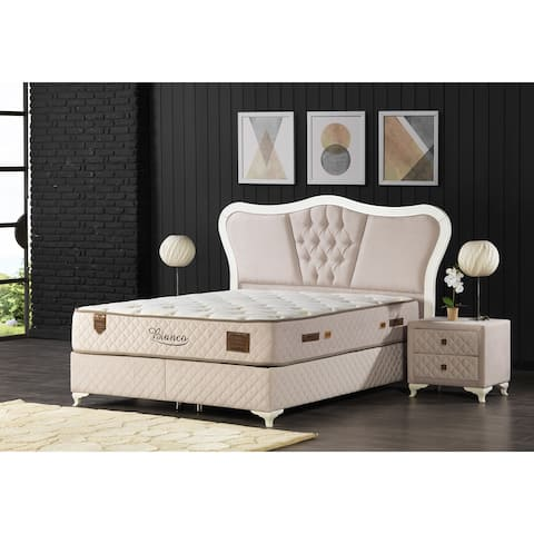Brolia Modern Bedroom Set Queen Size (150*200) (Foundation-Headboard-Mattress-Nightstand)