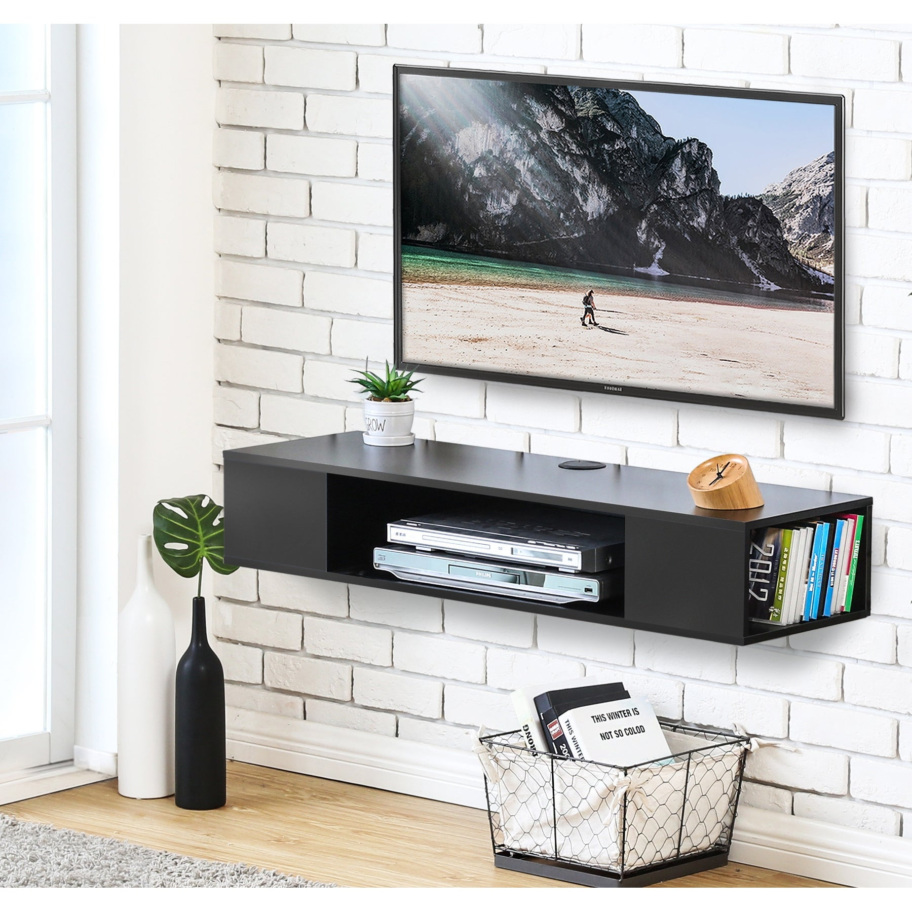 Floating Tv Stand Wood Wall Mount 2 Tier Media Shelves For Flat Screen Tv 40 Home Garden Furniture Home Garden