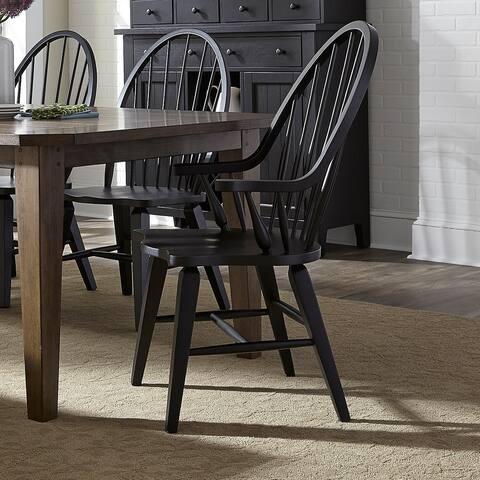 The Gray Barn WisteriaTraditional Rustic Black Windsor Arm Chair