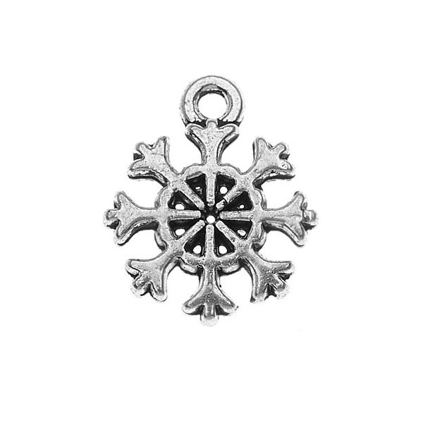 Lead-Free Pewter, Snowflake Charm 10.5x13mm, 4 Pieces, Antiqued Silver
