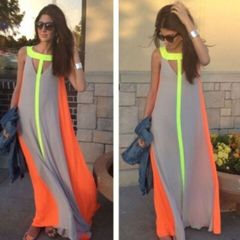 Women Boho Dress Chiffon Maxi Long Dresses Sleeveless Stripes Summer Beach Dress