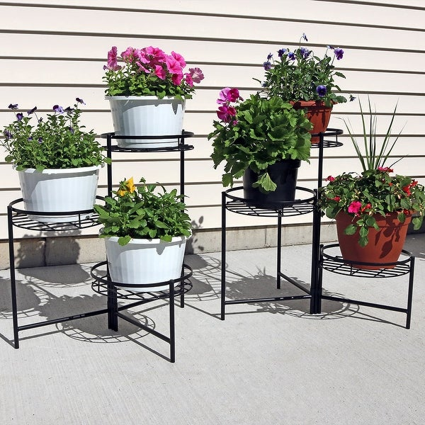 Sunnydaze Black Three Tiered Indoor Outdoor Plant Stand 22 Inch Tall Set of Two
