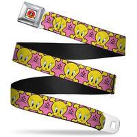 Looney Tunes Logo Full Color White Tweety Bird & Crossbones Pink Black Seatbelt Belt