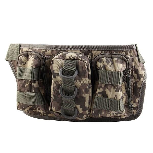 Sport Nylon Zipper Closure 4 Compartment Adjustable Phone Holder Waist Bag