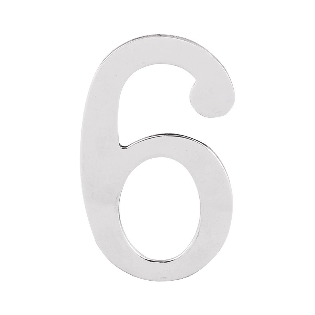 Home Hotel Door Stainless Steel 6 Shaped Number Sticker Label Sign Silver Tone