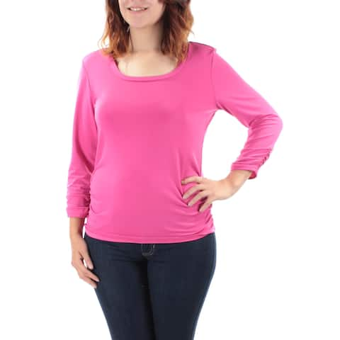 NY COLLECTION Womens Pink Ruched Long Sleeve Jewel Neck Top Size: S
