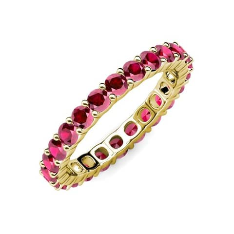 TriJewels Common Prong Ruby Womens Eternity Ring 3.23 ctw14K Gold