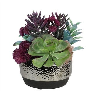 "8"" Artificial Succulent Arrangement in Decorative Silver Ceramic Pot - Purple"