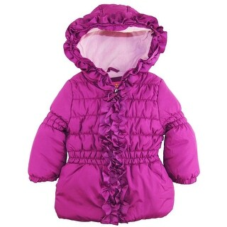 Pink Platinum Girls 4-6X Ruffle Puffer Jacket - Purple