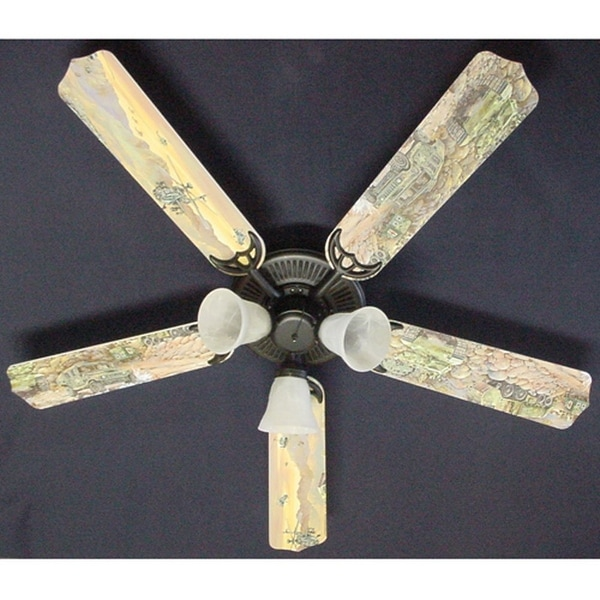 Children's 52in Ceiling Fan Light Army Tanks Blade Kit - Multi