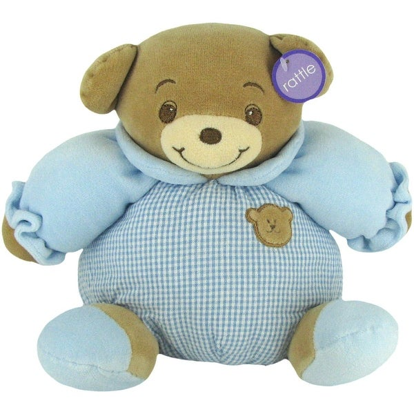 Baby Bow Rattle Plush Teddy Bear in Blue by Russ