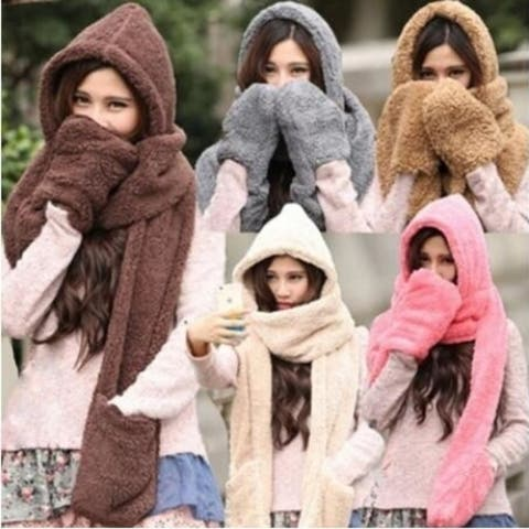 Soft Gloves Hats Plush 3 In 1 Hooded Scarf