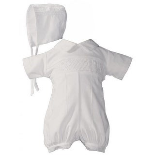 Baby Boys White Cotton Smocked Romper Bonnet Baptism Outfit Set
