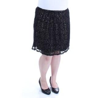 BEBOP $11 Womens New 1163 Black Gold Sequined Lace A-Line Skirt L Juniors B+B