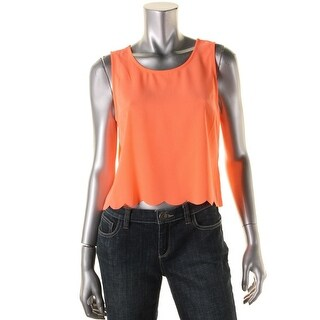 Lush Womens Cropped Scalloped Tank Top - S