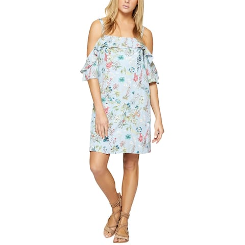Sanctuary Womens Primrose Cold-Shoulder Floral-Print Dress Medium Bluebell