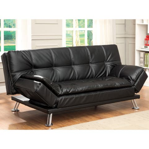 Furniture of America Wiva Contemporary Faux Leather Upholstered Futon Sofa