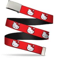 Blank Chrome Bo Buckle Hello Kitty White Face Red Background Webbing Web Belt