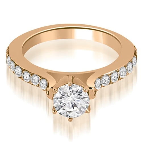 1.05 cttw. 14K Rose Gold Cathedral Round Cut Diamond Engagement Ring