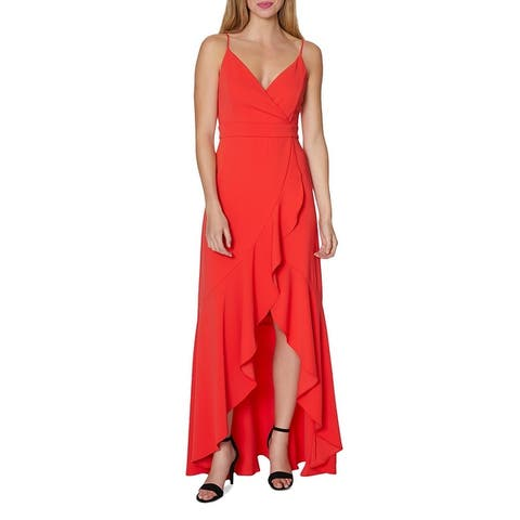Laundry by Shelli Segal Ruffled V-Neck Sleeveless Hi-Low Maxi Gown