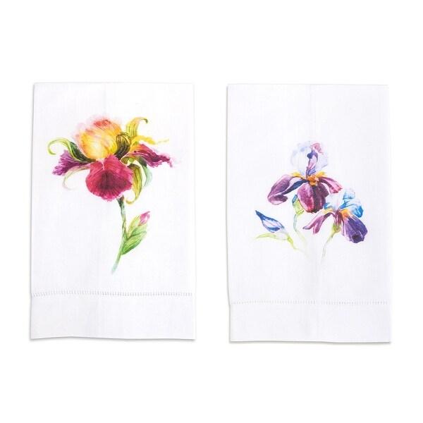Watercolored Iris Printed Linen Tea Towel, Set of 2 Flowers