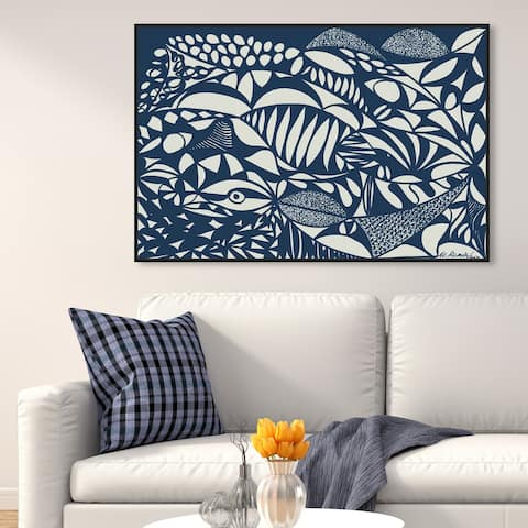 Oliver Gal 'Manuel Roman - Sea' Abstract Wall Art Framed Canvas Print Shapes - Blue, White