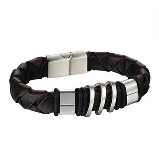 Mens Stainless Steel Bracelet Brown & Black Leather Wristband 8 Inch