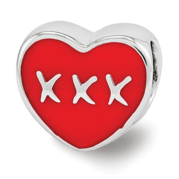 Sterling Silver Reflections Red Enamel LOVE & XXX Heart Bead (4mm Diameter Hole)