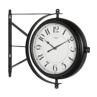 """Offex Home Metro Station 18"""" Dual Face Clock and Thermometer in Oil Rubbed Bronze"""