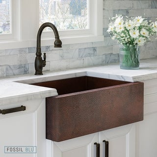 Luxury 33 inch Copper Farmhouse Kitchen Sink, Hammered Finish, Single Bowl, Flat Front, includes Diposal Flange, by Fossil Blu