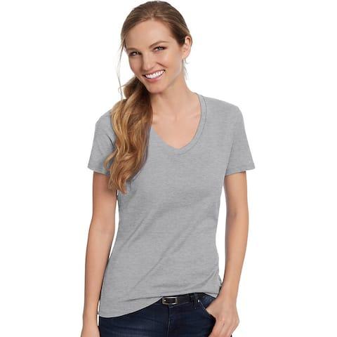 Hanes Women's Nano-T® V-Neck T-Shirt - Size - L - Color - Light Steel