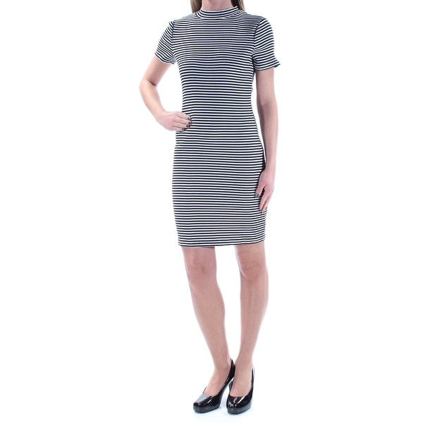 8240ec4b982 Shop KENSIE Womens Black Ribbed Mock Neck Striped Short Sleeve Mini Sheath  Dress Size  XS - Free Shipping On Orders Over  45 - Overstock - 21391887