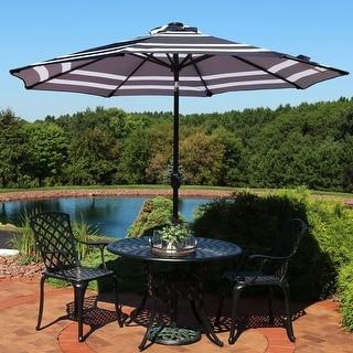 Sunnydaze Aluminum Solar Patio Umbrella - Tilt and Crank - 9-foot - Blue Stripe
