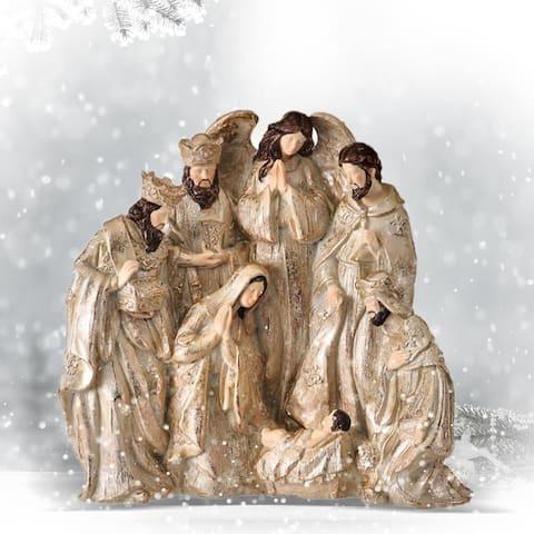 "9.25"" Champagne Gold Nativity Scene Christmas Tabletop Decor"