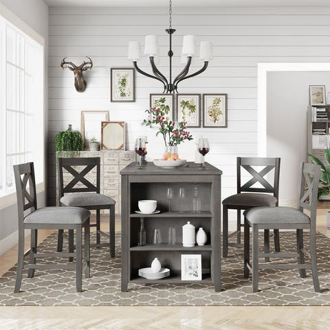 [Pre-sale]5 Pieces Farmhouse Dining Room Wooden Bar Table Set with 4 Chairs