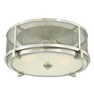 """Westinghouse 6330600 Adler 2 Light 13-9/16"""" Wide Flush Mount Drum Ceiling Fixtur - Brushed nickel"""
