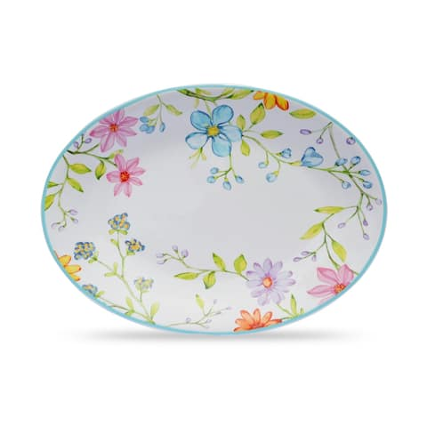 "Euro Ceramica Charlotte 15"" Oval Serving Platter - 15.5 x 11.38 x 1.46"