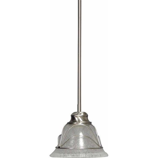 """Volume Lighting V2241 Rhodes 1 Light Mini 7"""" Height Pendant with Clear Seedy Gla - Brushed nickel"""