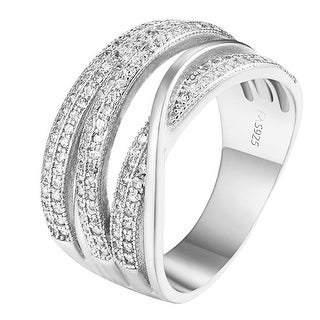 Sterling Silver Wedding Ring Womens Infinity Style Lab Diamond Engagement