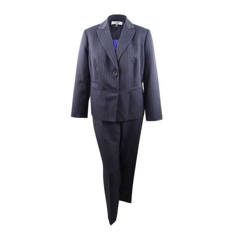 Le Suit Women's Plus Pinstriped Two-Button Pantsuit & Shell (18W, Charcoal/Iris) - Charcoal/Iris - 18W